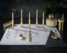 Look close at these pieces, a rad d. inspiration for sure (no offense TD) . 'COG' Desk Accessories collection from; Tom Dixon on scene at Maison & Objet Paris Tom Dixon, Beautiful Compliments, Toms, Desk Tidy, Pen Collection, Brass Candle Holders, Copper And Brass, Solid Brass, Wooden Lamp