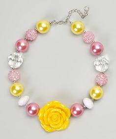 Yellow & Pink Rose Bead Necklace by Zuzu Petals #zulily #zulilyfinds