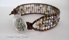 Beaded Leather Cuff, Luster Multicolor Pegasus, Beautiful Whimsical, Boho Chic, Mother's Day Gifts