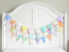 Kids Room Garland / Fabric Bunting / Unicorn Birthday Party Decorations / Fabric Garland / Baby Shower Decorations Girl / Circus Party / 9ft