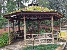 Twig and plank gazebo with stone base and cedar roof @ Birmingham Botanical Gardens, Birmingham, AL