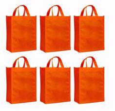 Reusable Gift Bags, Medium- 6 Bag Set- Orange