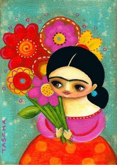 Frida with flowers for you 2010 Art And Illustration, Frida And Diego, Frida Art, Cute Paintings, Diego Rivera, Flowers For You, Mexican Folk Art, Naive Art, Whimsical Art