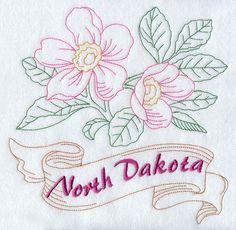 North Dakota - Wild Prairie Rose (Redwork)