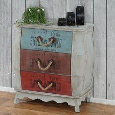 Kommode Leiria Schubladenkommode Schrank Shabby-Look, Vintage, 74x70x36cm