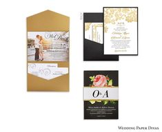 Bridal Stationery Suite Envelopments Pocket Fold Layered Belly Band