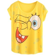 Yellow Ladies Cotton Crew Neck Cartoon Sponge Bob Printed T-shirt featuring polyvore fashion clothing tops t-shirts shirts tees yellow crewneck t-shirt yellow shirt cartoon character t shirts yellow t shirt comic book t shirts