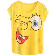Yellow Ladies Cotton Crew Neck Cartoon Sponge Bob Printed T-shirt (68 GTQ) ❤ liked on Polyvore featuring tops, t-shirts, shirts, tees, blusas, yellow, crewneck shirt, crew t shirts, comic book t shirts and yellow t shirt