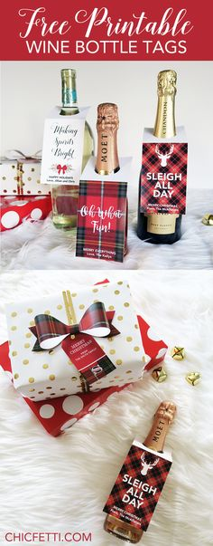 Free Printable Wine Bottle Tags - Christmas and holiday themed from @chicfetti