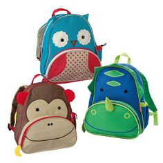 'Skip Hop' Animal Backpack - These lovely and unusual animal backpacks have a main central pocket and an insulated front pocket to keep things cool.  We love the fun, easy to grasp zip tabs too!
