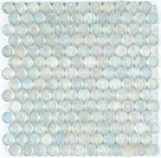 Iridescent Pool Glass Tile Clear Penny Round