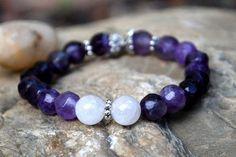 """Pramodini """"The One that Gives Joy"""" – Karma ... Amethyst and Rose quartz gemstone healing bracelet. Karmawithlove.com"""