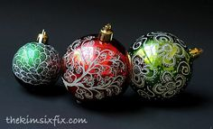 Engraved and Illuminated Plastic Ball Ornaments