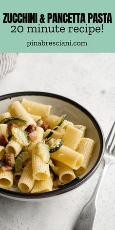 """This pancetta and zucchini pasta only takes 20 minutes to make but packs in so much flavor! Welcome to the second post of the """"work from home pasta lunch"""" series (see the first post i the series – easy tuna spaghetti)!"""