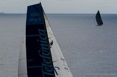 Jordi Calafat from Spain climbs the rig of Team Telefonica, skippered by Iker Martinez from Spain, as they chase PUMA Ocean Racing powered by BERG, skippered by Ken Read from the USA, in the final miles of leg 5 from Auckland, New Zealand to Itajai, Brazil, in the Volvo Ocean Race 2011-12