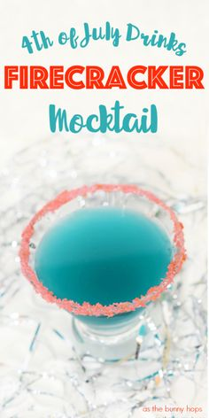 Celebrate the 4th of July with a sparkling Firecracker Mocktail! Get this fun and easy drink recipe at As The Bunny Hops! Coctails Recipes, Easy Drink Recipes, Yummy Drinks, Drinks Alcohol, Beverages, Fall Cocktails, Fall Drinks, Blueberry Drinks