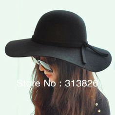 Autumn and winter pure woolen women s large brim hat and caps winter hat  vintage big fedoras da3a81b9bf4