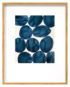 """Threshold Framed Watercolor Abstract Blue 22""""x28"""""""