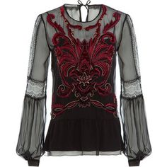 Alberta Ferretti Embroidered and Embellished Silk Blouse