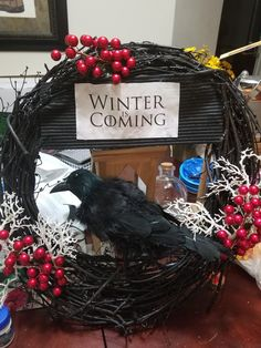 Created my first GOT wreath! - Game Of Thrones Game Of Thrones Decor, Game Of Thrones Party, Game Of Thrones Fans, Game Of Thrones Christmas, Game Of Thrones Birthday, Game Of Thrones Ornaments, Christmas Wreaths, Christmas Decorations, Holiday Decor