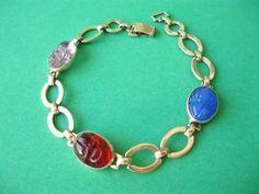 sterling 14kt carved glass scarab BRACELET ruby red amethyst purple peking blue in Jewelry & Watches, Vintage & Antique Jewelry, Fine | eBay