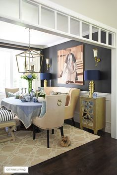 Bring a laid-back feel to your dining room with a collection of your favorite accessories, dishes and linens layered on your table for a curated look! Grey Paint Colors, Elegant Dining Room, Dark Walls, Dining Room Walls, Beauty Room, Fine Dining, Home Remodeling, Interior Decorating, House Design