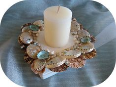 Pearly abalone candle holder by SuziesSeashellWorld on Etsy, $29.00