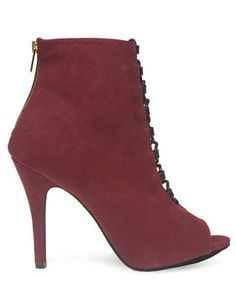 Faux Suede Peep Toe Ankle Boots - Wet Seal