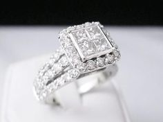 14K WHITE GOLD 3.0 CTW. DIAMOND ENGAGEMENT RING 4 PRINCESS CUT CTR DIAMONDS - EXCLUSIVE DEAL! BUY NOW ONLY $1399.99