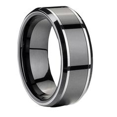 Tungsten Carbide Gery Men Wedding Band Ring Never Tarnish M1