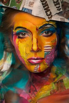 Using models' faces as canvas, Russian make-up artist Valeriya Kutsan recreates famous paintings in collaboration with photographer Alexander Khokhlov and expert photo editor Veronica Ershova. More Face Paintings via Design Taxi Alexander Khokhlov, Pop Art, Art Visage, Hair Photography, Photography Portraits, Make Up Art, Piet Mondrian, Famous Artists, Famous Models