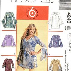 McCall's Sewing Pattern Loose Fit Pullover Top V Neck Blouse Hippie Style Peasant Shirt Hankerchief Hem Flounce Sleeves Uncut FF Plus Size