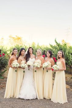 38 Beautiful Spring Bridesmaids' Dresses: pastel yellow strapless sweetheart maxi dresses
