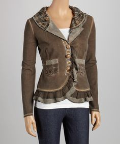 Take a look at this delfine Brown Ruffle Blazer on zulily today!