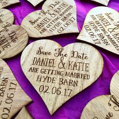 Save The Date Heart Date Magnet - Wooden Save The Date - Wedding Announcement - Wood Invitation