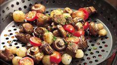 verduras y carne asadas
