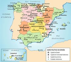 Map of Spain Bucket List Destinations, Europe Destinations, Granada Andalucia, Map Of Spain, By Any Means Necessary, Europe Photos, Backpacking Europe, Canada, Travel Maps