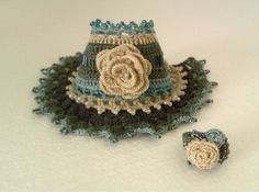 Flower Crochet Bracelet Crochet Cuff Crochet Beaded por stasiSpark