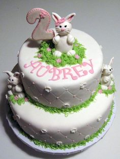 RDP02 Bunny rabbit Baby 1st Birthday photo personalised cake topper icing