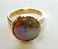 Hammerd Pearl and Diamond Ring by MissTerLA on Etsy, $375.00