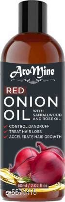 Hair Oil AroMine Red Onion Oil With Sandalwood & Rose Oil for Hair Regrowth Hair Oil (60 ml) Product Name: AroMine Red Onion Oil With Sandalwood & Rose Oil for Hair Regrowth Hair Oil (60 ml) Multipack: 1 Flavour: Onion Country of Origin: India Sizes Available: Free Size   Catalog Rating: ★4.1 (478)  Catalog Name: Free Gift Premium Ultra Herbal Oil CatalogID_833398 C166-SC2033 Code: 051-5571415-702