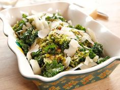 Get Roasted Brussels Sprouts and Kale Recipe from Food Network