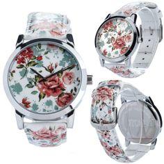 Pink Roses Retro Watch Wristwatch / Cool Modern by ZIZWatches, Retro Watches, Modern Retro, Pink Roses, Omega Watch, Quartz, Unisex, Band, Cool Stuff, Trending Outfits