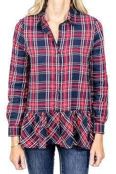 9b1b58428e Beach Lunch Lounge Red Plaid Ruffle Hem Shirt Beach Lunch, Red Plaid,  Stitch Fix