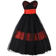 Vintage 1950's Red Satin Black Tulle Flocked Cocktail Dress ($10) ❤ liked on Polyvore featuring dresses, vestidos, red satin dress, vintage polka dot dress, tulle dress, polka dot dress and red vintage dress