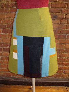 Green Wool Patchwork Skirt