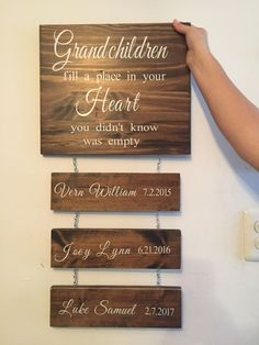 Grandchildren wall sign order before dec 10 and get this for christmas! great gift for the grandparents! you can customize with any of our available stains and lettering colors.$40
