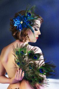 Peacock feathers bridesmaids bouquet & hair piece.