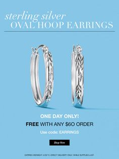 One Day Only! On April 26 get a pair of Sterling Silver Hoop Earrings FREE with any purchase of $60 or more with code: EARRINGS at my Avon eStore! #AvonRep