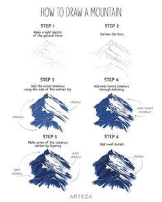 Mountain Landscape Drawing, Landscape Drawing Tutorial, Landscape Pencil Drawings, Pencil Art Drawings, Illustrator Tutorials, Art Tutorials, Concept Art Tutorial, Art Corner, Mini Canvas Art
